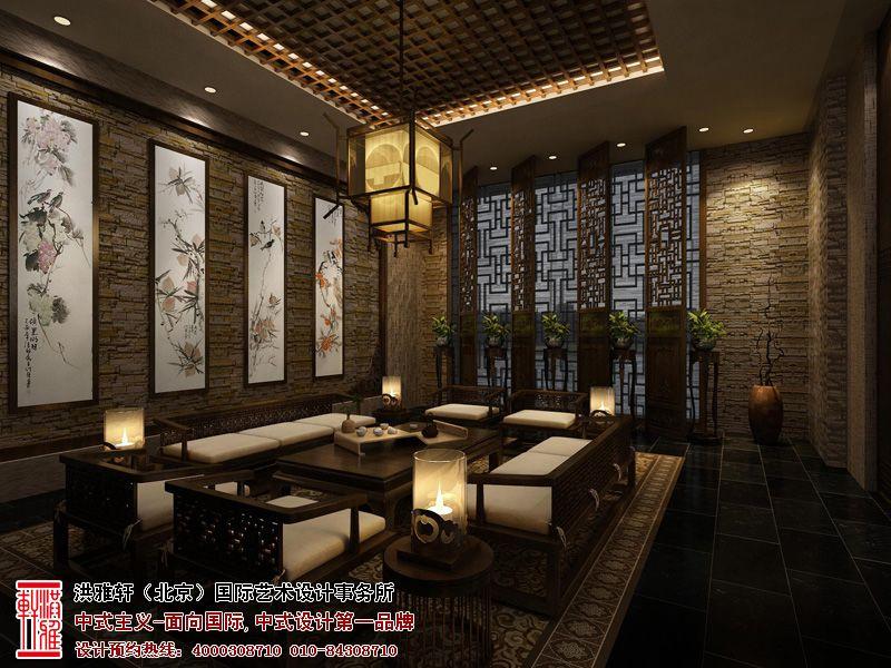 茶室古朴素雅的木质桌椅,以及墙面经典的人文水墨画,让茶室生动自然