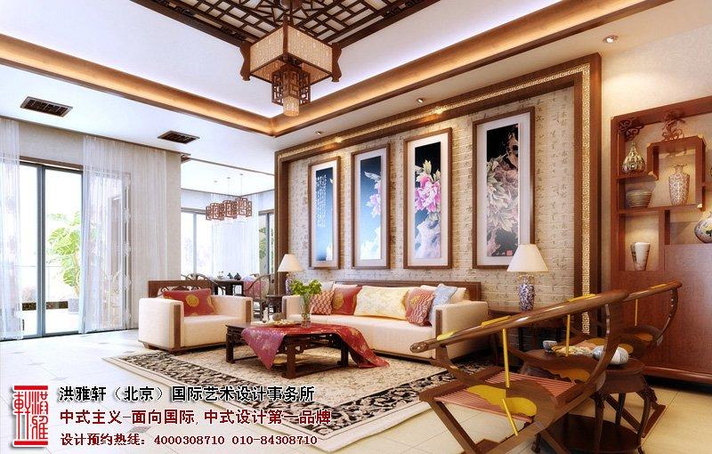 家庭中式客厅挂画风水布局图
