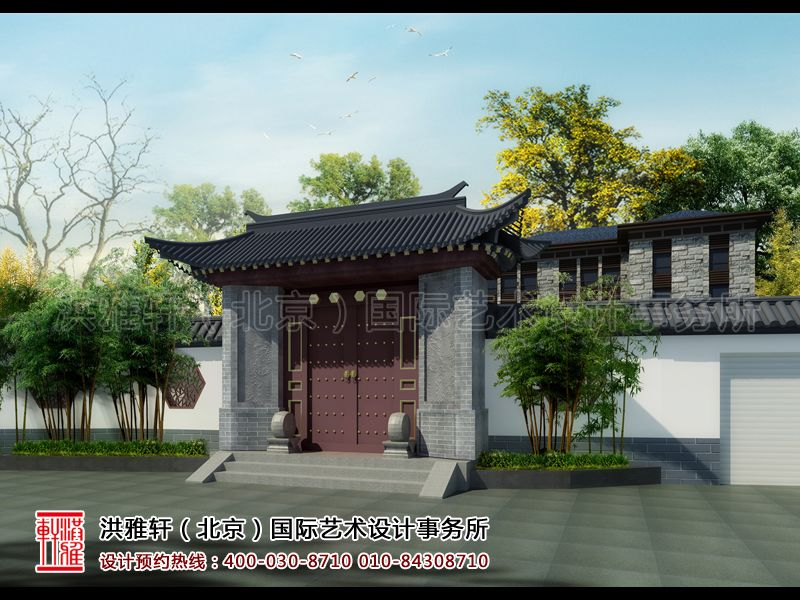 别墅庭院古典中式装修设计效果图片