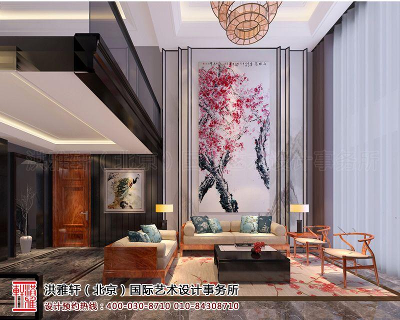 棕榈滩别墅样板间客厅新中式设计效果图片