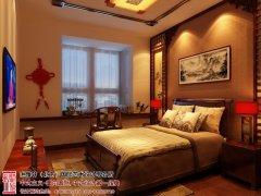 新中式卧室飘窗窗帘图片