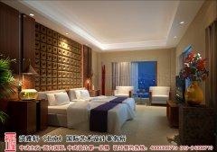 中式风格的酒店客房效果图