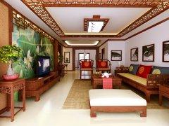 中式精品住宅客厅电视墙设计效果图