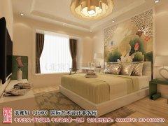 中式卧室床头背景墙装修图欣赏